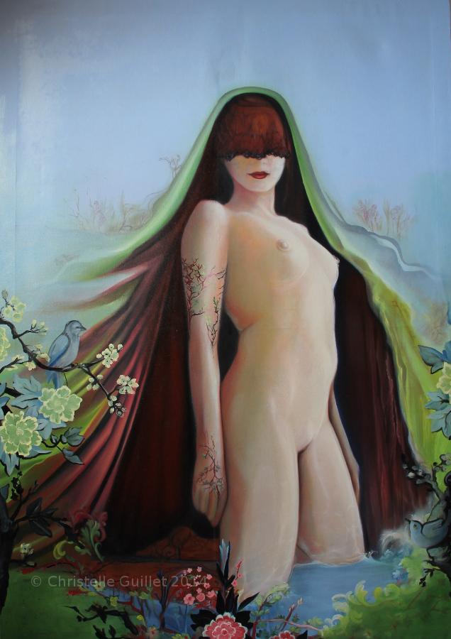 La Pacha sur toile de Jouy Huile sur toile imprimé (de Jouy) 154 x 108 cm 2014