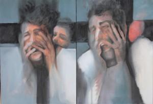 Figure iconoclaste - Le cri du masque #1 et #2 (2016) Diptyque, huile sur toile, 33 x 46 cm
